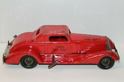 Nice Vintage 1930and039s Girard Wind Up Pressed Steel Siren Fire Chief Car