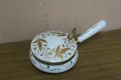 Vintage Silent Butler Isco Porcelain Box Dish Hand Painted Gold Made In Japan.