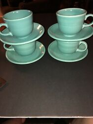 Hlc Fiesta Set Of 4 Turquoise Cup And Saucer Tea Coffee Dinnerware Collectible