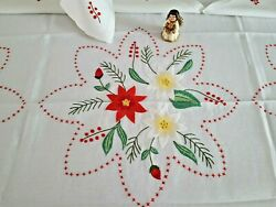 Tablecloth X12 In Pure Linen With Embroidery And Handmade Christmas