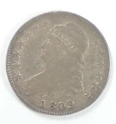 Bargain 1809 Capped Bust/lettered Edge Half Dollar Very Fine Silver 50c