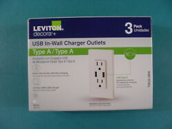 Leviton Decora+ Type A Outlet And Double Usb Charger 3 Pack Brand New T5632-3bw