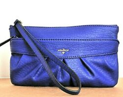 JUICY COUTURE Purple Indigo Ruched Faux Leather Wristlet Clutch Bag Gold Logo $17.99