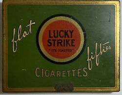 Vintage Lucky Strike Brand Flat Fifties Cigarette Tin Case Collectible
