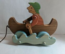 Canoe Paddler - Boat Handcrafted Lark Toys Pull Toy Pegged Wood Wooden Usa