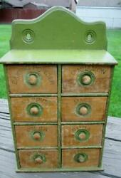 Antique Primitive Pine 8 Drawer Stenciled Spice Cabinet W Green Chippy Paint