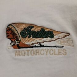 Vintage Indian Motorcycle T-shirt Polo Long Sleeve Embroidered Rare