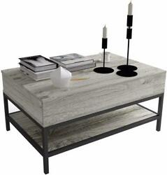 Modern Lift Top Coffee Table W/hidden Storage And Shelf For Living Room Reception