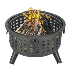 26 Round Firepit Fire Bowl Ceramic Wood Burning Grill Outdoor Firepit W/cover