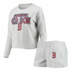 Boston Red Sox Concepts Sport Women's Crossfield Long Sleeve T-shirt And Shorts