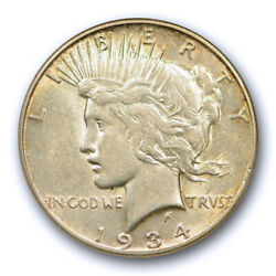 1934 S 1 Peace Dollar Anacs Au 50 About Uncirculated Old Holder Toned