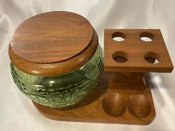 Vintage Solid Wooden Walnut Pipe Stand Holder W/ Green Glass Jar Humidor
