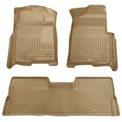 98333 Husky Liners Floor Mats Front New Tan For F150 Truck Ford F-150 2009-2014