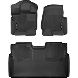 Set-h2153341 Husky Liners Floor Mats Set Of 2 Front New Black For F-150 Pair