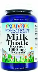 200 Capsules 1000mg Milk Thistle Seed 41 Extract Natural Liver Support Pill Vb