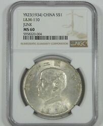 Year 23 1934 China Silver Junk Dollar Certified Ngc Ms 60 L And M-110