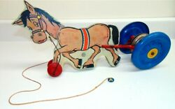 Vintage Nn Hill Brass Co. Wood Metal Tin Mule Head Bob Pull Toy W/bell-colorful