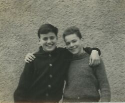 Vintage Original 1950and039s Candid Photo Boys Young Men Friendship Relaxed Portrait