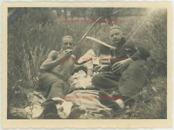 Vintage Original 1930and039s Candid Photo Young Men Picnic Lunch Camping Trip Gay Int