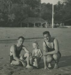 Vintage Original 1930and039s Candid Photo Dad And Son Young Man Swimwear Swim Portrait