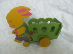 1940s Bunny Rabbit And Wagon Cart Pull Toy Candy Containerdolly Toy Cofibro Toy
