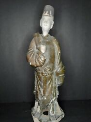Large Chinese Ming Dynasty Green Glazed Tomb Figure Of An Attendant