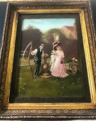 19th Century Oil On Canvas Painting Of Family At Drinking Fountain