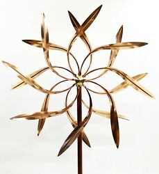 Stanwood Wind Sculpture Copper Dual Spinner - Dancing Willow Leaves Jumbo Size