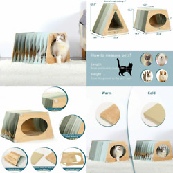 Portable Collapsible Cat Houses for Indoor Cats with One Size Scratcher Pad...