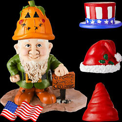 Resin Gnome Greeter Statue For Garden Porch Crafts With 4 Interchangeable Hats
