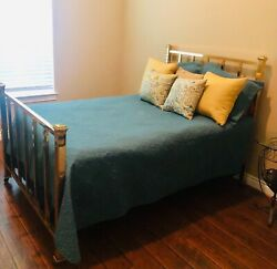 Antique Brass Bed - Full Size, Mattress And Box Springs Included.
