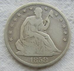 1858-s Seated Liberty Half Dollar Rare Date Mid Grade Detail Light Cleaning
