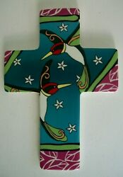 Colorful Ceramic Birds in Flight Stars RELIGIOUS CHRISTIAN CROSS for Wall 9X6.5quot; $11.50