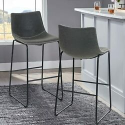 Bar Stools Set Of 2 Dark Gray Pu Leather Height Counter Bar Chair For Coffee Pub