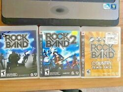 Rock Band Playstation 3 Video Game Bundle - 3 Games Ps3 Country Track Pack