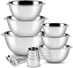 Premium Stainless Steel Mixing Bowl Measuring Cup And Spoon Set 14 Piece
