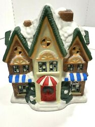 Christmas Collectible Holiday House Inn Snow Top Red Door No Light