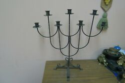 Vintage Black Wrought Iron Candelabra 7 Candle Holder Gothic Medieval Style 20