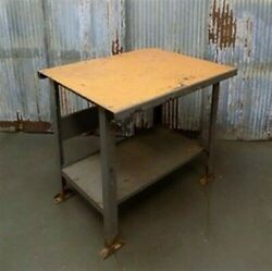 Vintage Industrial Metal Workbench Table Kitchen Island Counter Kitchen Table