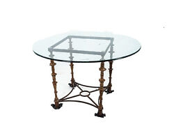Vintage Mid Century Modern Giacometti Style Iron And Glass Table