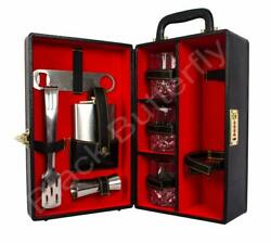 Wooden Travel Bar Set Portable Bar Set Red And Black Easy Carry Everywhere Us