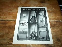 Guild Guitars And Amps Starfire / Reverb 1960s Vintage Magazine Promo Ad Nm-