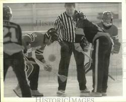Press Photo Broom Ball Game With Seeley Bay Vs Canada During Flip Of The Coin