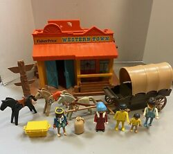 Vintage 1982 Fisher Price Western Town And 1974 Geobra Playmobil Indian Toys 934