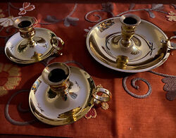 Vintage 3 Piece Lot Baldwin Brass Saucer Style Candle Holders With Finger Loop