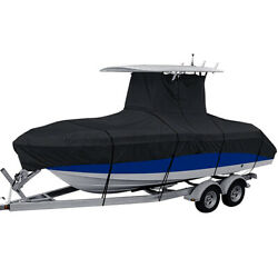 Heavy Duty Center Console T-top Boat Cover 16and039-18and039/17and039-19and039/20and039-22and039/22and039-24and039 Black