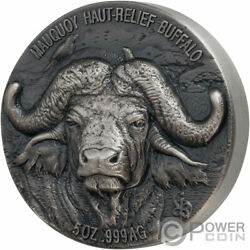 Water Buffalo Big Five Mauquoy 5 Oz Silver Coin 5000 Francs Ivory Coast 2020