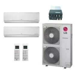 Lg Wall Mounted 2-zone System - 54000 Btu Outdoor - 24k + 24k Indoor - 18.6 ...