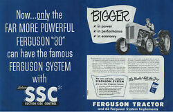 Only The Far More Poweful Ferguson 30 Tractor Has Suction-side Control Ad 1952