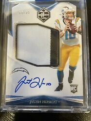 Justin Herbert Rookie Patch Auto Panini Limited 145 10/35 Jersey 1/1